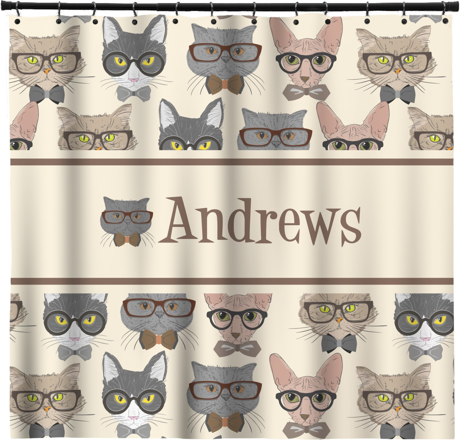 Hipster Cats Shower Curtain Personalized
