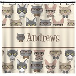Hipster Cats Shower Curtain (Personalized)