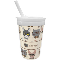 Hipster Cats Sippy Cup with Straw (Personalized)