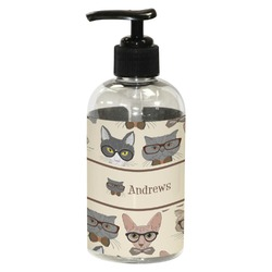 Hipster Cats Plastic Soap / Lotion Dispenser (8 oz - Small) (Personalized)
