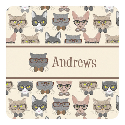 Hipster Cats Square Decal (Personalized)