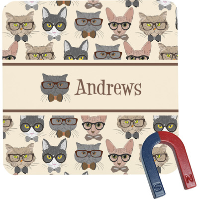 Hipster Cats Square Fridge Magnet (Personalized)