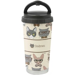 Hipster Cats Stainless Steel Travel Mug (Personalized)