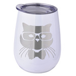 Hipster Cats Stemless Wine Tumbler - 6 Color Choices - Stainless Steel  (Personalized)