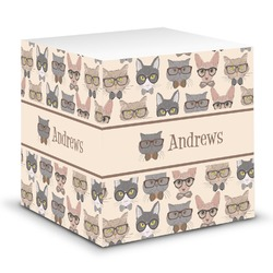 Hipster Cats Sticky Note Cube (Personalized)