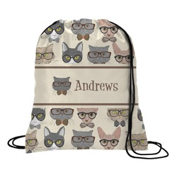 Hipster Cats Drawstring Backpack - Large (Personalized)