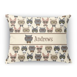 Hipster Cats Rectangular Throw Pillow Case (Personalized)