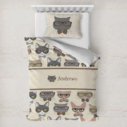 Hipster Cats Toddler Bedding w/ Name or Text