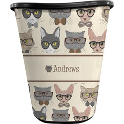 Hipster Cats Waste Basket - Double Sided (Black) (Personalized)