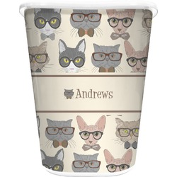 Hipster Cats Waste Basket - Single Sided (White) (Personalized)