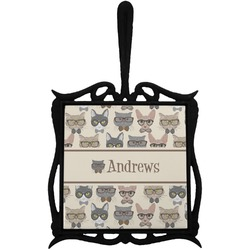 Hipster Cats Trivet with Handle (Personalized)