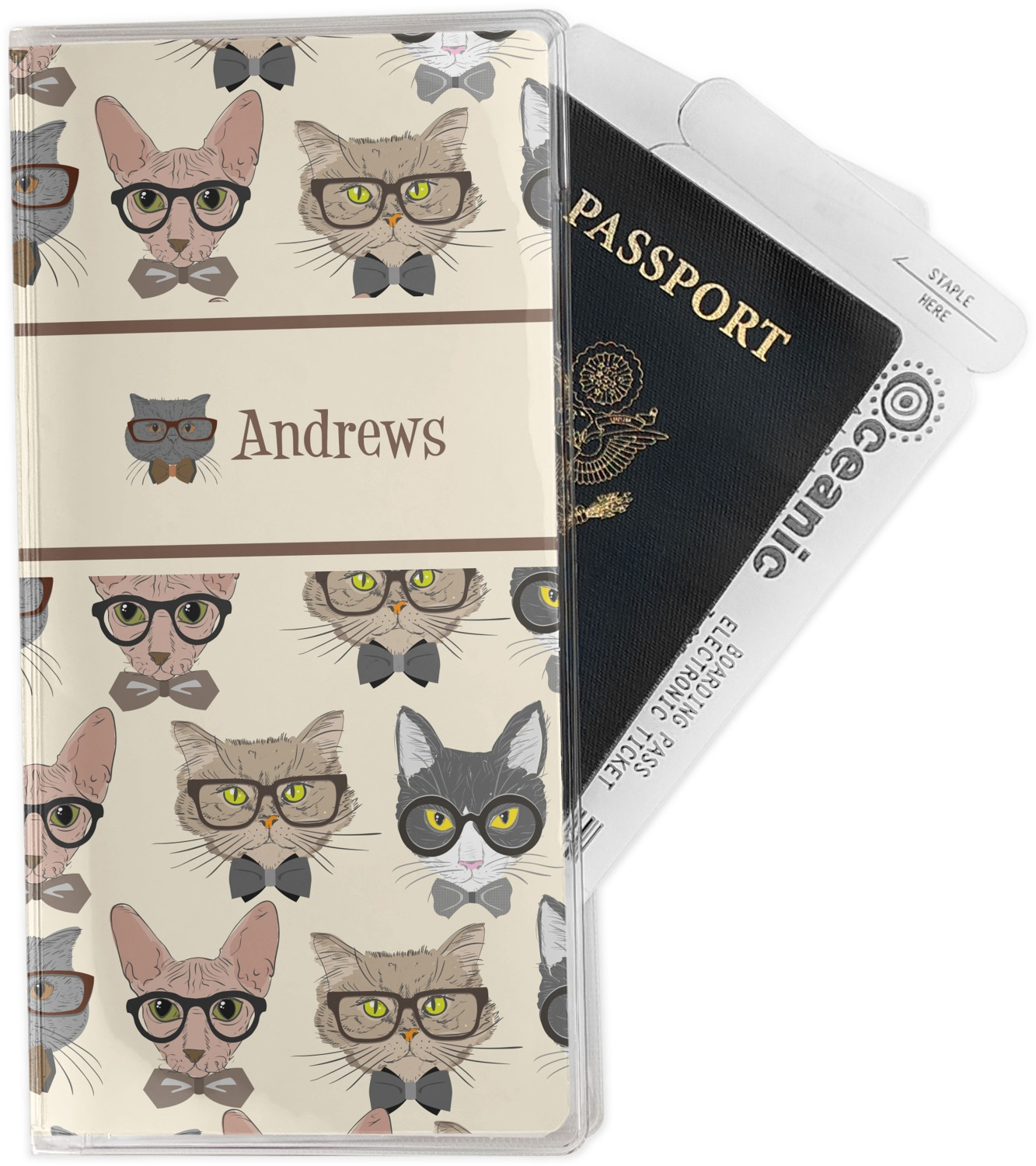 Personalized Hipster Cats Vinyl Passport Holder