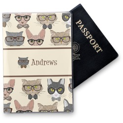 Hipster Cats Vinyl Passport Holder (Personalized)