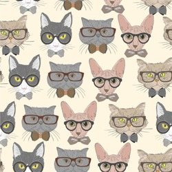 Hipster Cats Wallpaper & Surface Covering