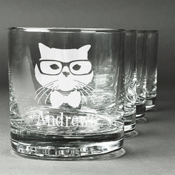 Hipster Cats Whiskey Glasses (Set of 4) (Personalized)