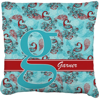 Peacock Faux-Linen Throw Pillow (Personalized)