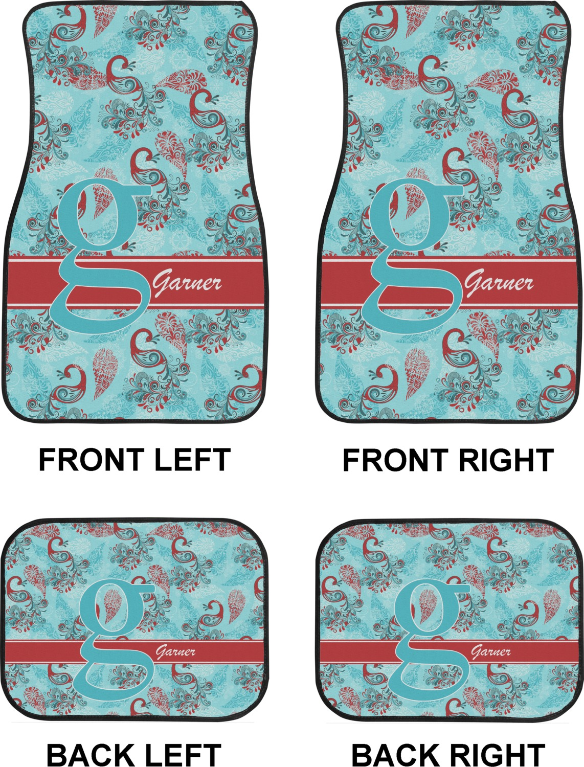 Peacock Car Floor Mats Set 2 Front 2 Back Personalized