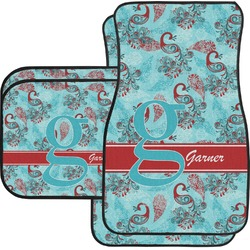 Peacock Car Floor Mats Set - 2 Front & 2 Back (Personalized)