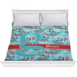 Peacock Comforter - King (Personalized)