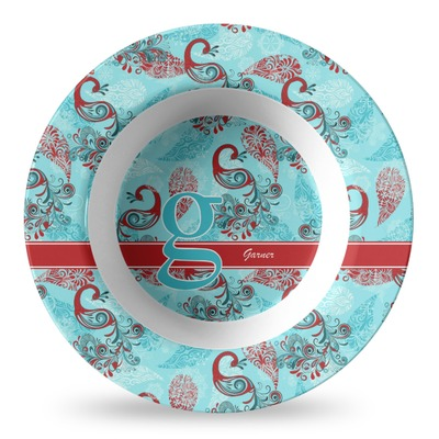 Peacock Plastic Bowl - Microwave Safe - Composite Polymer (Personalized)