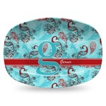 Peacock Plastic Platter - Microwave & Oven Safe Composite Polymer (Personalized)