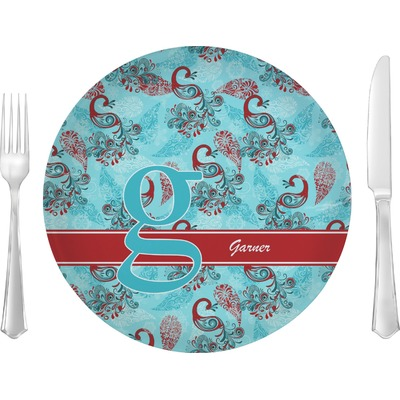 """Peacock 10"""" Glass Lunch / Dinner Plates - Single or Set (Personalized)"""