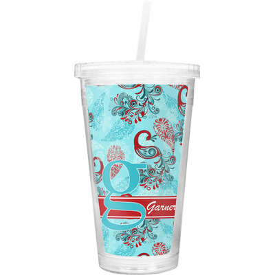 Peacock Double Wall Tumbler with Straw (Personalized)