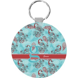 Peacock Round Keychain (Personalized)