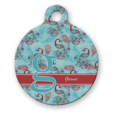 Peacock Round Pet ID Tag (Personalized)