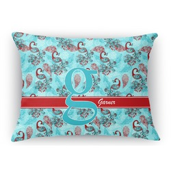 Peacock Rectangular Throw Pillow Case (Personalized)