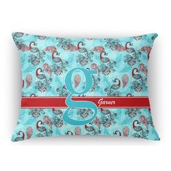 Peacock Rectangular Throw Pillow Case (Personalized)
