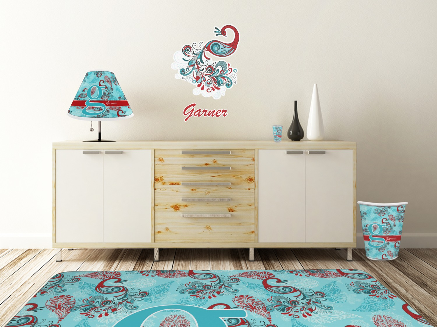 ... Peacock Wall Graphic Decal Wooden Desk