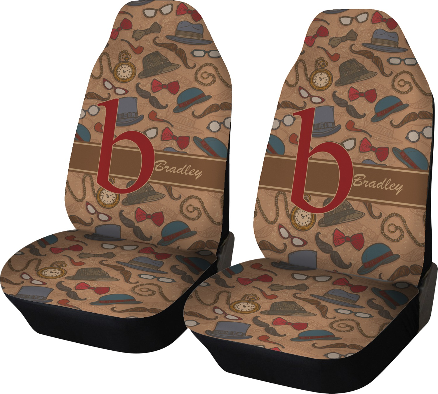 vintage hipster car seat covers set of two personalized youcustomizeit. Black Bedroom Furniture Sets. Home Design Ideas
