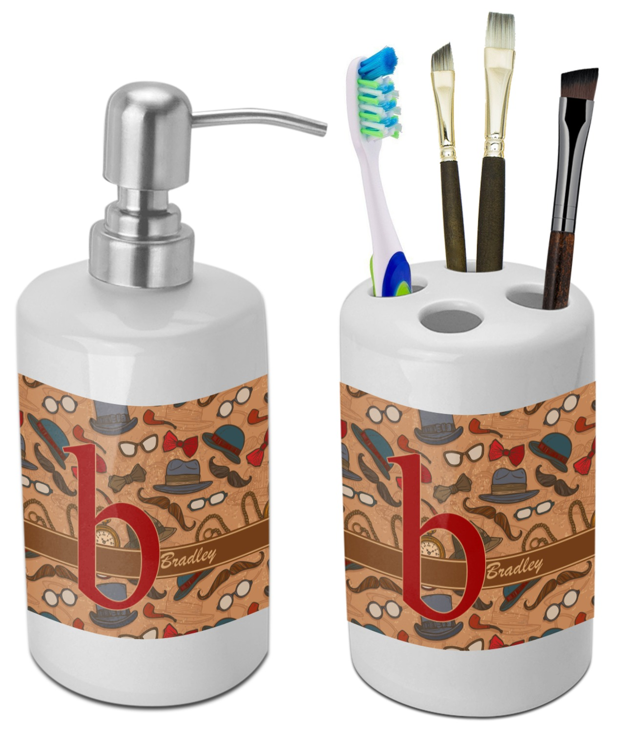 Vintage Hipster Bathroom Accessories Set (Ceramic) (Personalized ...