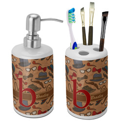 Vintage Hipster Ceramic Bathroom Accessories Set (Personalized)