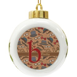 Vintage Hipster Ceramic Ball Ornament (Personalized)