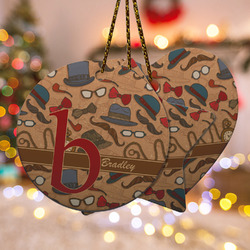 Vintage Hipster Ceramic Ornament w/ Name and Initial