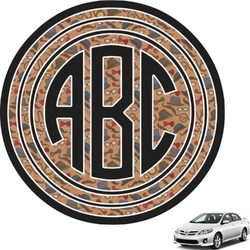Vintage Hipster Circle Monogram Car Decal (Personalized)