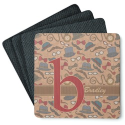 Vintage Hipster 4 Square Coasters - Rubber Backed (Personalized)