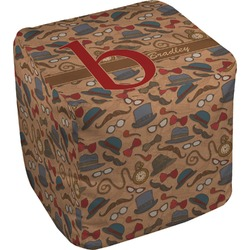 Vintage Hipster Cube Pouf Ottoman (Personalized)