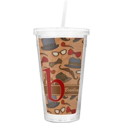 Vintage Hipster Double Wall Tumbler with Straw (Personalized)