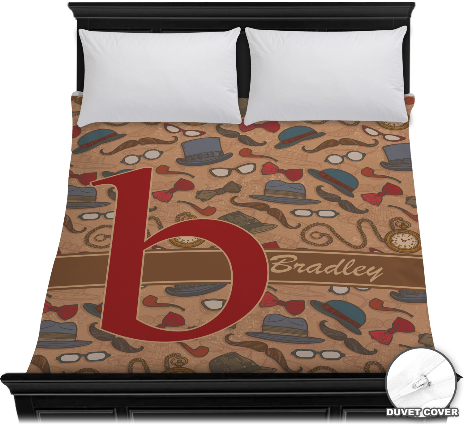 Vintage Hipster Duvet Cover (Personalized)