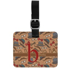 Vintage Hipster Genuine Leather Rectangular  Luggage Tag (Personalized)