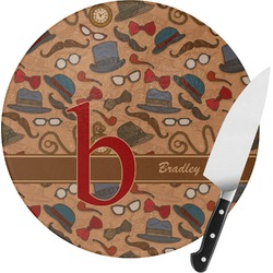 Vintage Hipster Round Glass Cutting Board (Personalized)