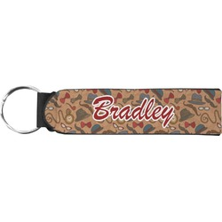 Vintage Hipster Neoprene Keychain Fob (Personalized)