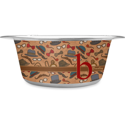 Vintage Hipster Stainless Steel Dog Bowl (Personalized)