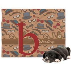 Vintage Hipster Minky Dog Blanket - Large  (Personalized)