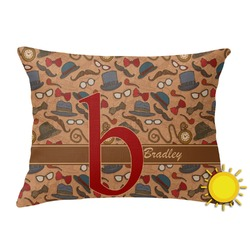Vintage Hipster Outdoor Throw Pillow (Rectangular) (Personalized)