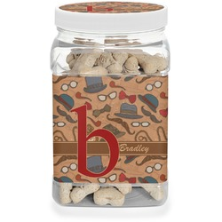 Vintage Hipster Pet Treat Jar (Personalized)