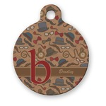 Vintage Hipster Round Pet Tag (Personalized)